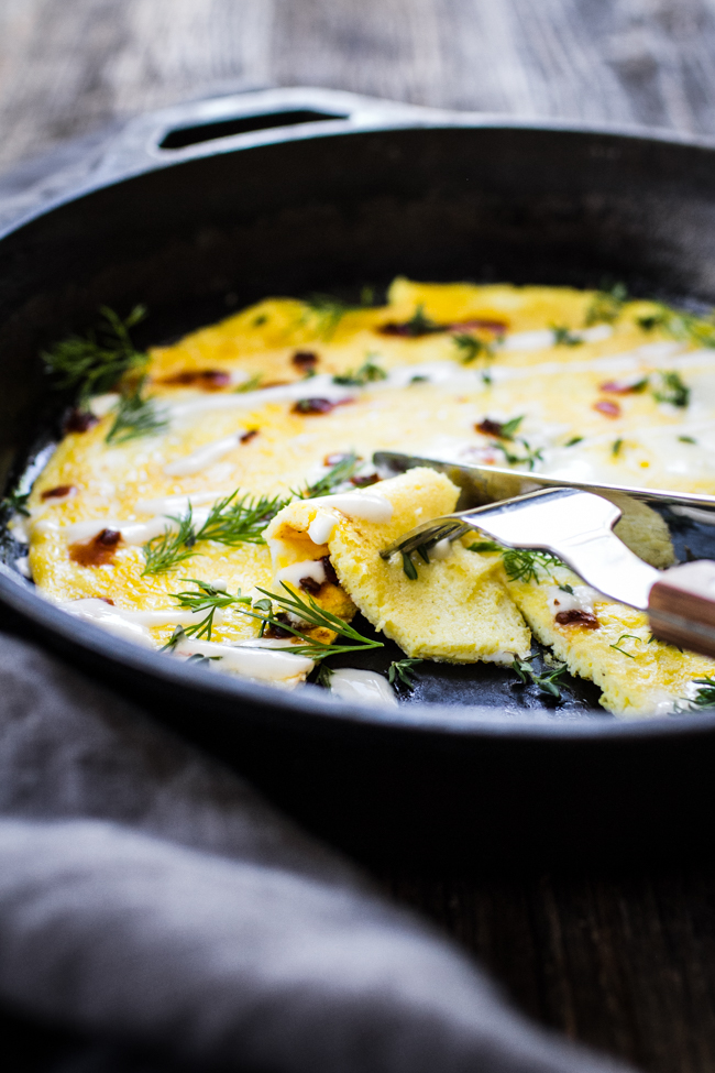 Flat Omelet with Yogurt + Herbs eaten straight from skillet! | edibleperpsective.com