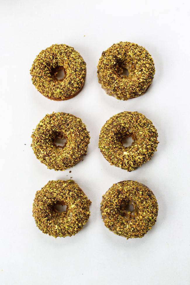 Lemon Pistachio Donuts - Baked! | edibleperspective.com