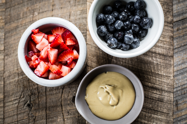 berries + sunbutter toppings for the Giant Buckwheat Pancake | edibleperspective.com