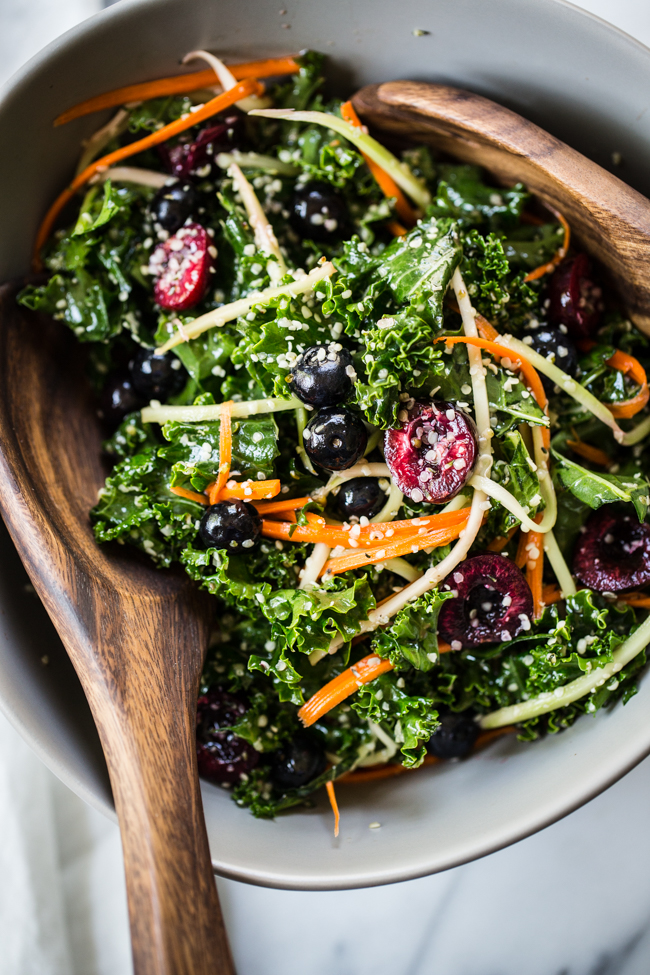Rainbow Kale Salad recipe perfect for summer | Edible Perspective