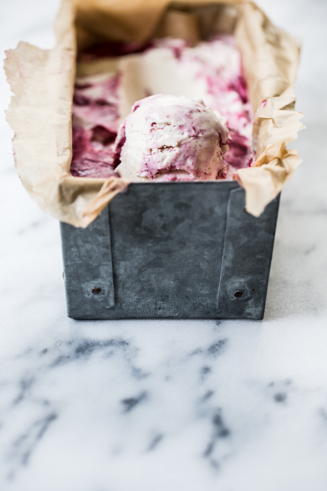 Roasted Cherry Lavender Ice Cream summer recipe | Edible Perspective