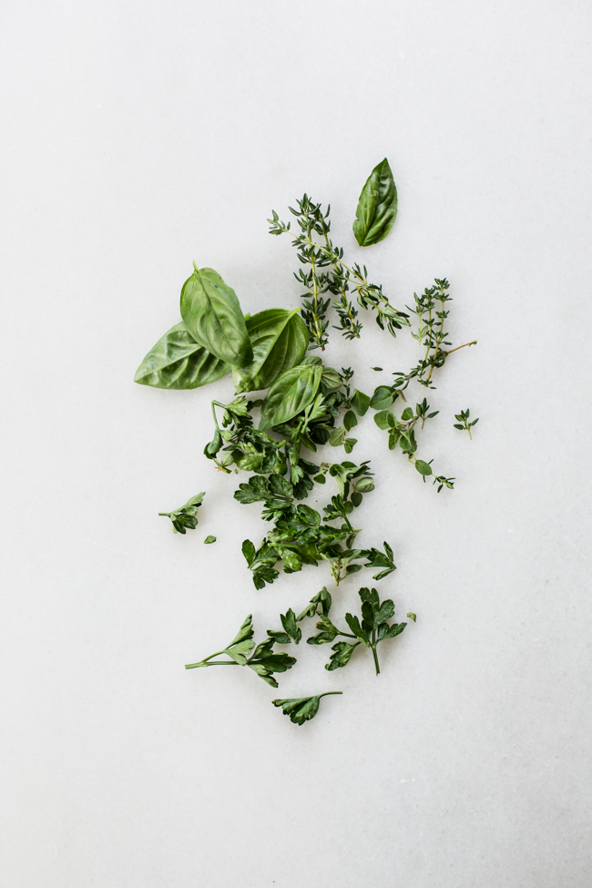 fresh herbs for Lemon Feta and Herb Grilled Corn | Edible Perspective