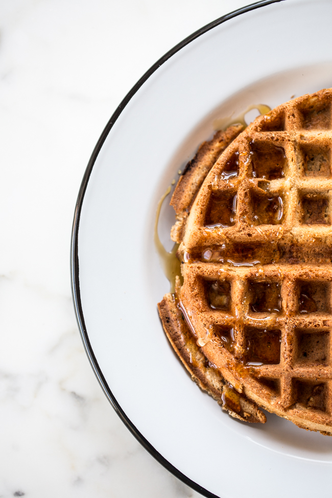 Cinnamon Apple Buckwheat Waffle gluten-free recipe with only 2 flours | edibleperspective.com