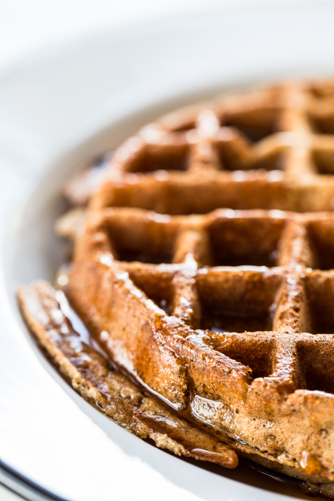 Crisp + fluffy Cinnamon Apple Buckwheat Waffle recipe | edibleperspective.com