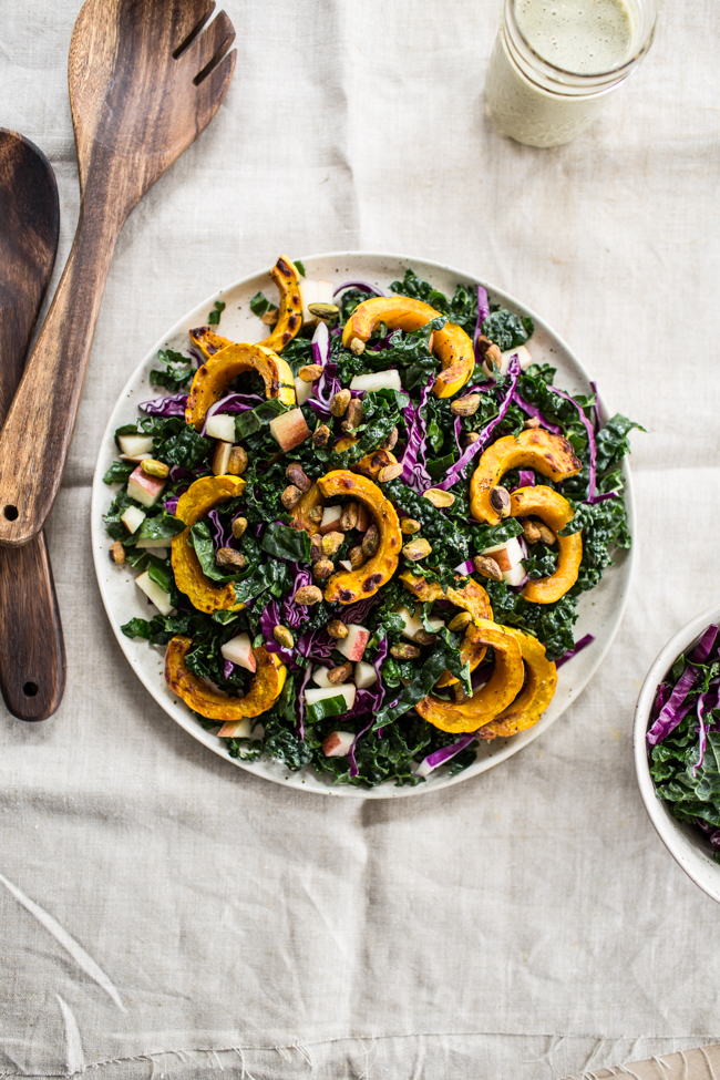 Kale Salad with Roasted Delicata Squash and Orange Maple Hemp Dressing | edibleperspective.com