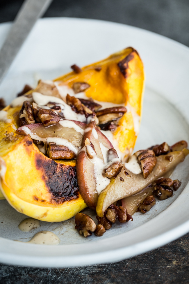 Acorn Squash Bowls with Pears, Pecans and Vanilla Bean Cream | Edible Perspective
