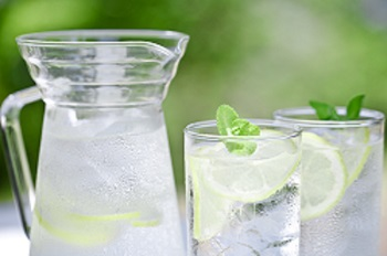 Water with Lemon or sparkling water