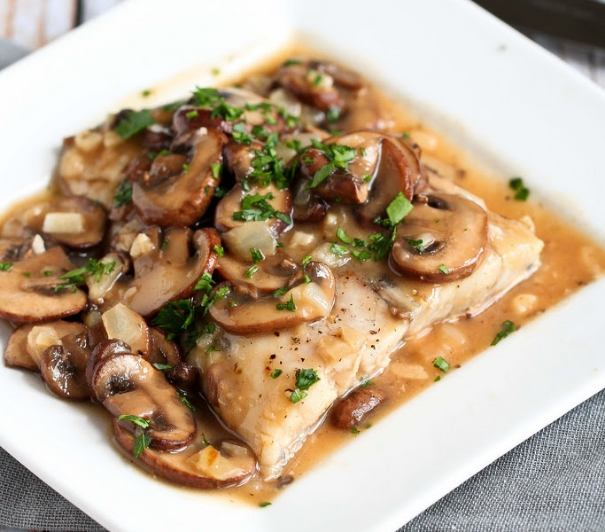 http://www.foodbylish.com/shop/seared-tilapia-in-a-red-wine-mushroom-sauce