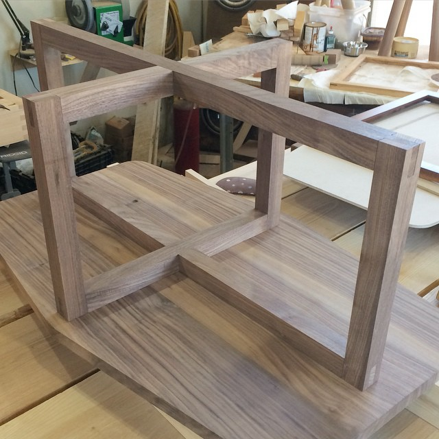Dry fit of the table base looks good, get it all glued up tomorrow #walnut #woodshop #woodworking #handmade #handmadefurniture #furnituredesign #design #skanadesign