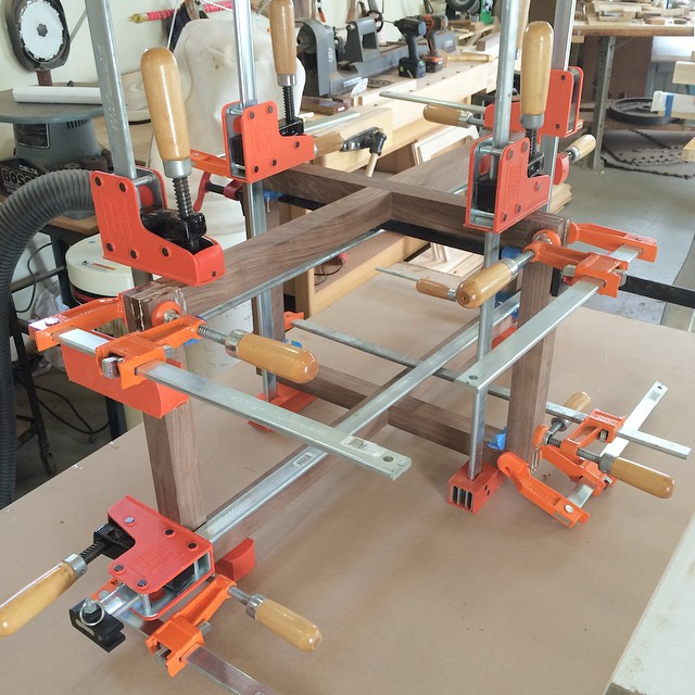 Glued and clamped thanks for the extra set of hands @79design #walnut #woodshop #woodworking #handmade #handmadefurniture #furnituredesign #design #skanadesign