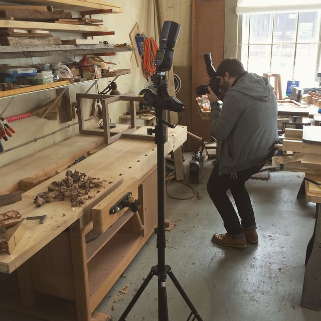 @_helloimjoe was out at the shop today taking a bunch more shots for the site, should have it finished soon! #woodshop #woodworking #handmade #handmadefurniture #furnituredesign #design #skanadesign #productphotography