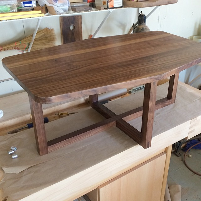 Bad pic but here is the first real look at the table, just need to make some more hardware for it and that's a wrap then into some matching pieces #walnut #woodshop #woodworking #handmade #handmadefurniture #furnituredesign #design #skanadesign