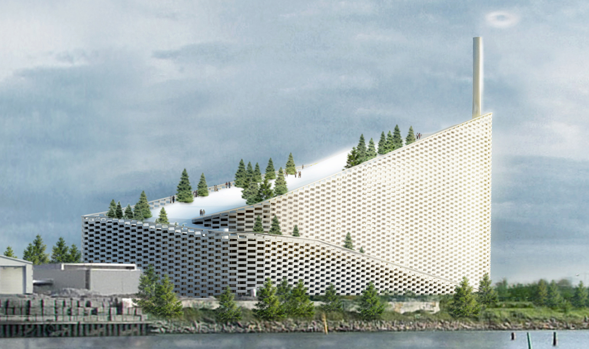 Designed by Bjarke Ingels Group, Copenhagen's new waste-to-energy plant also doubles as a ski slope for the community. Photo from  BUILTR.IO .