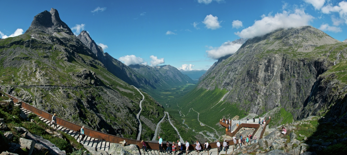 The steps and walkways overlooking Trollstigen (The Trolls Road) mimic the angles of the roads below and blend in with the mountainside.