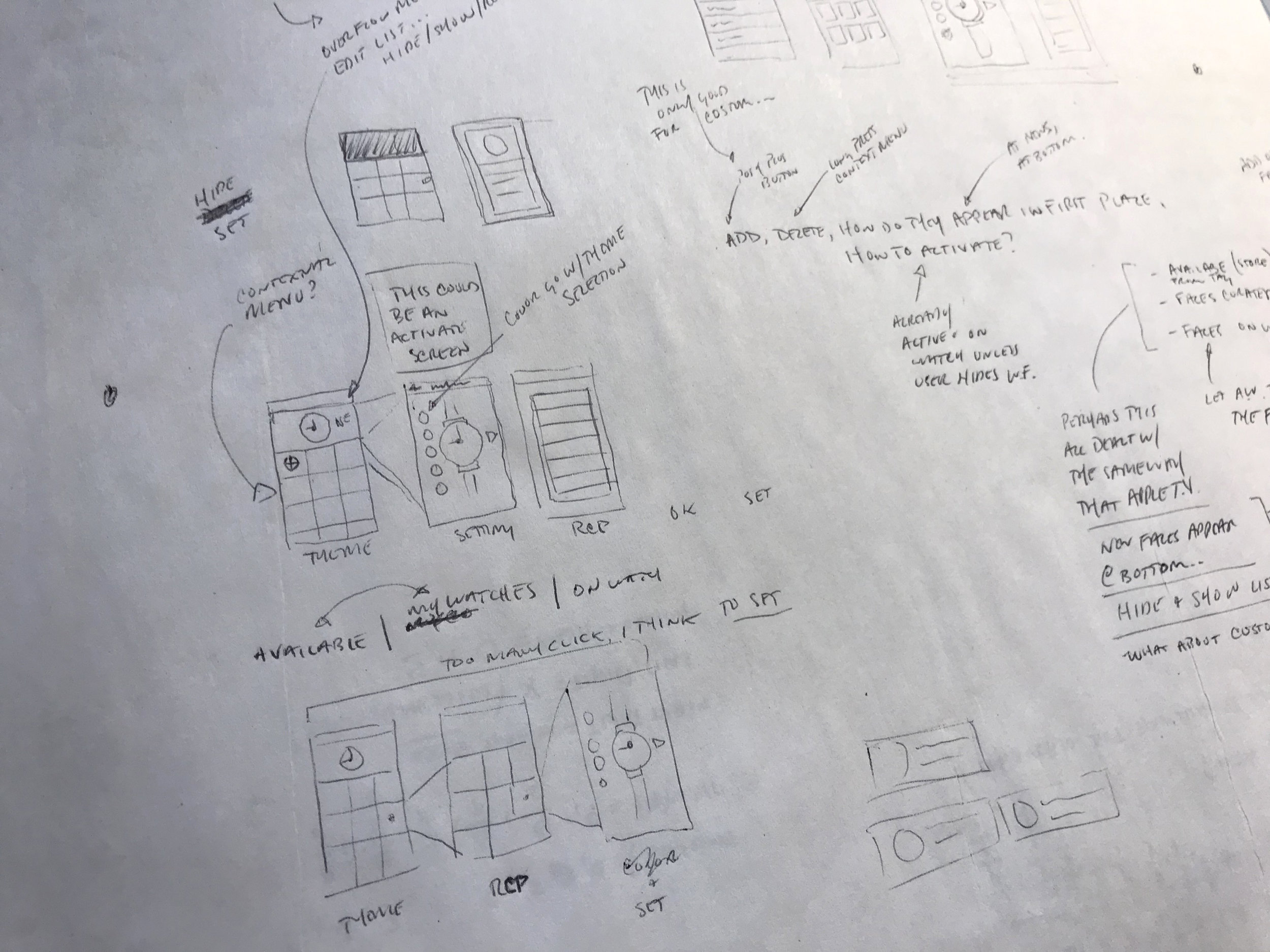 Early sketches for the mobile app
