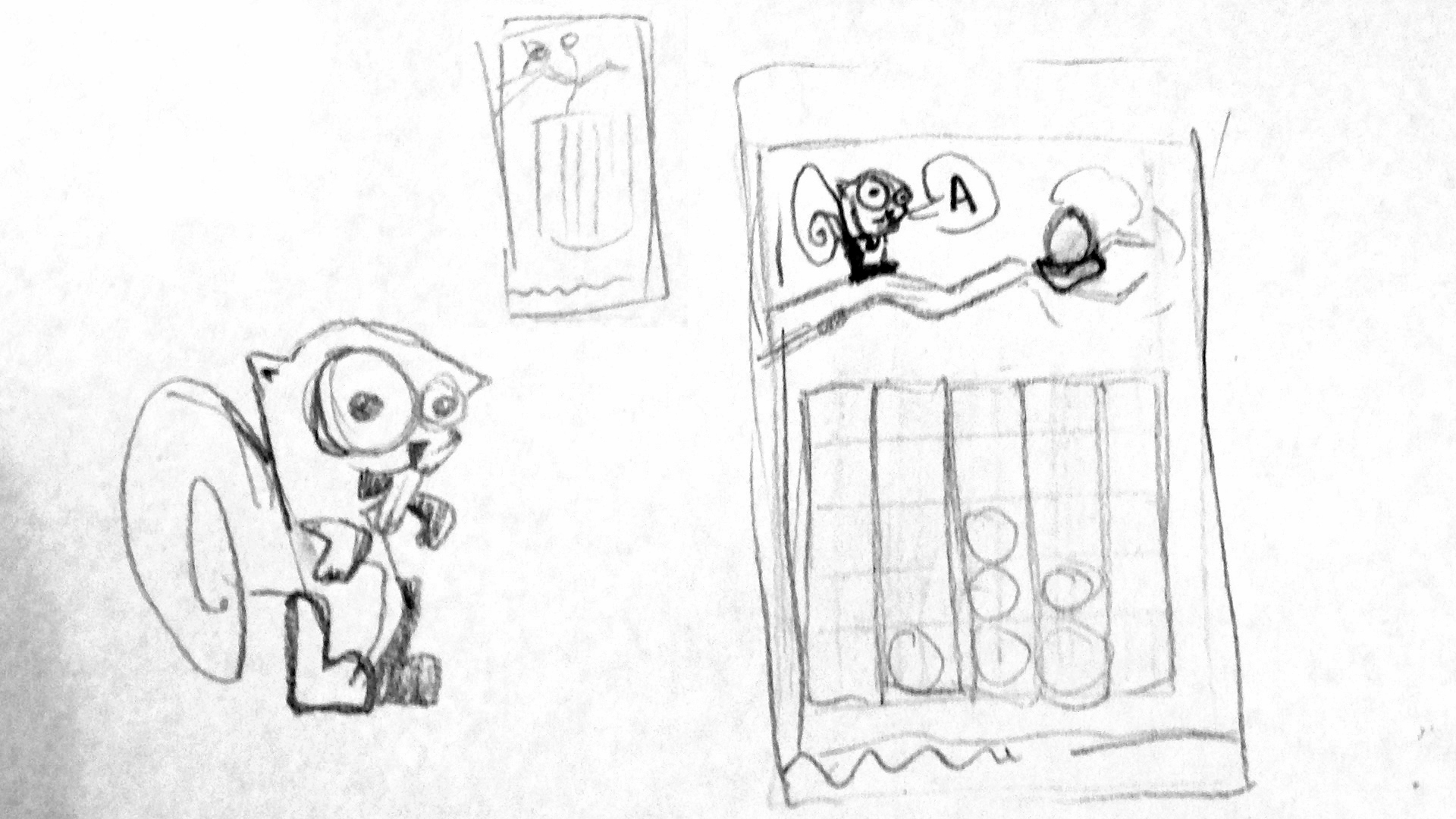 Squirrel and game play screen sketch