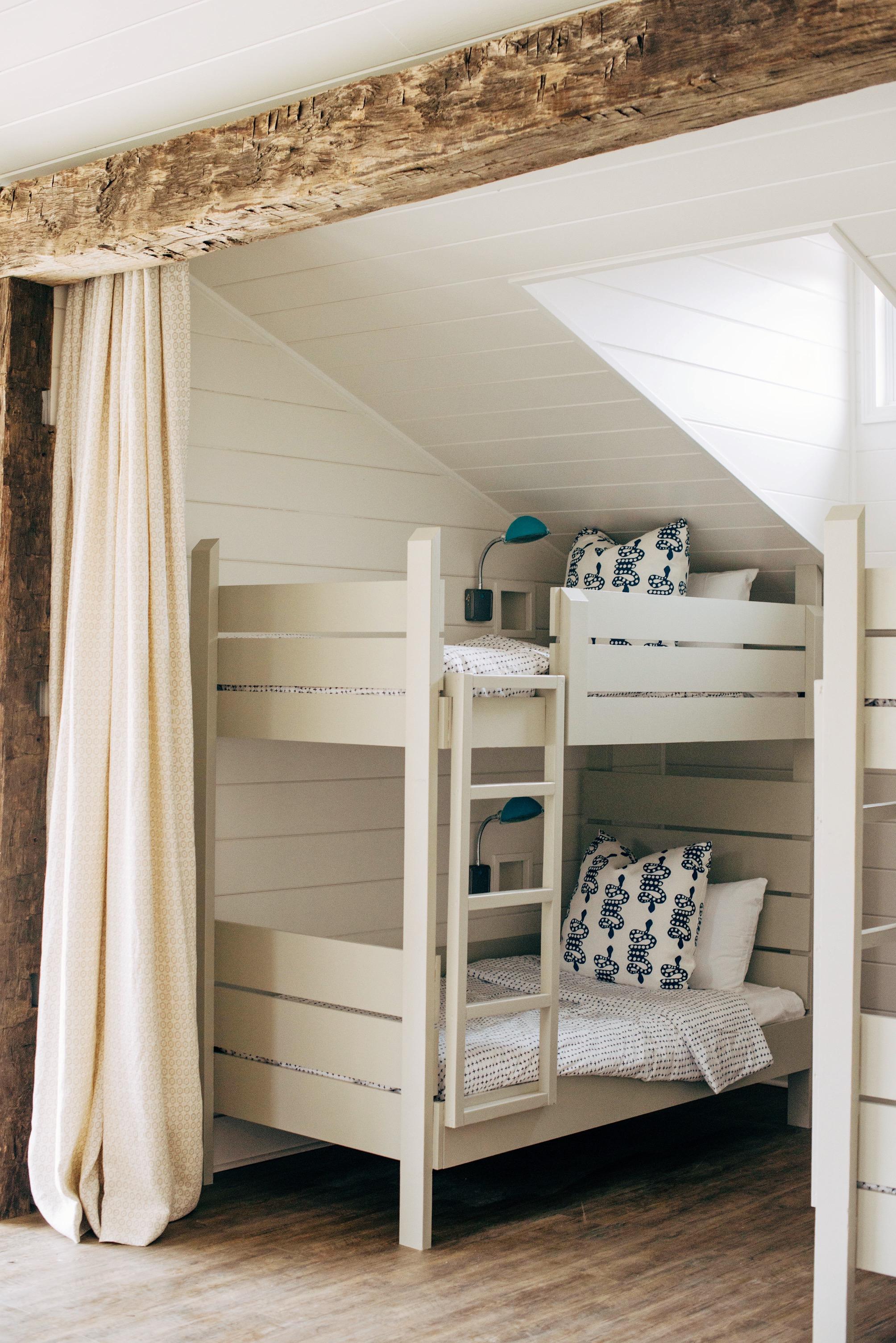 Bunks: BM Winterwood   Walls: BM Simply White   Sarah Catherine Design