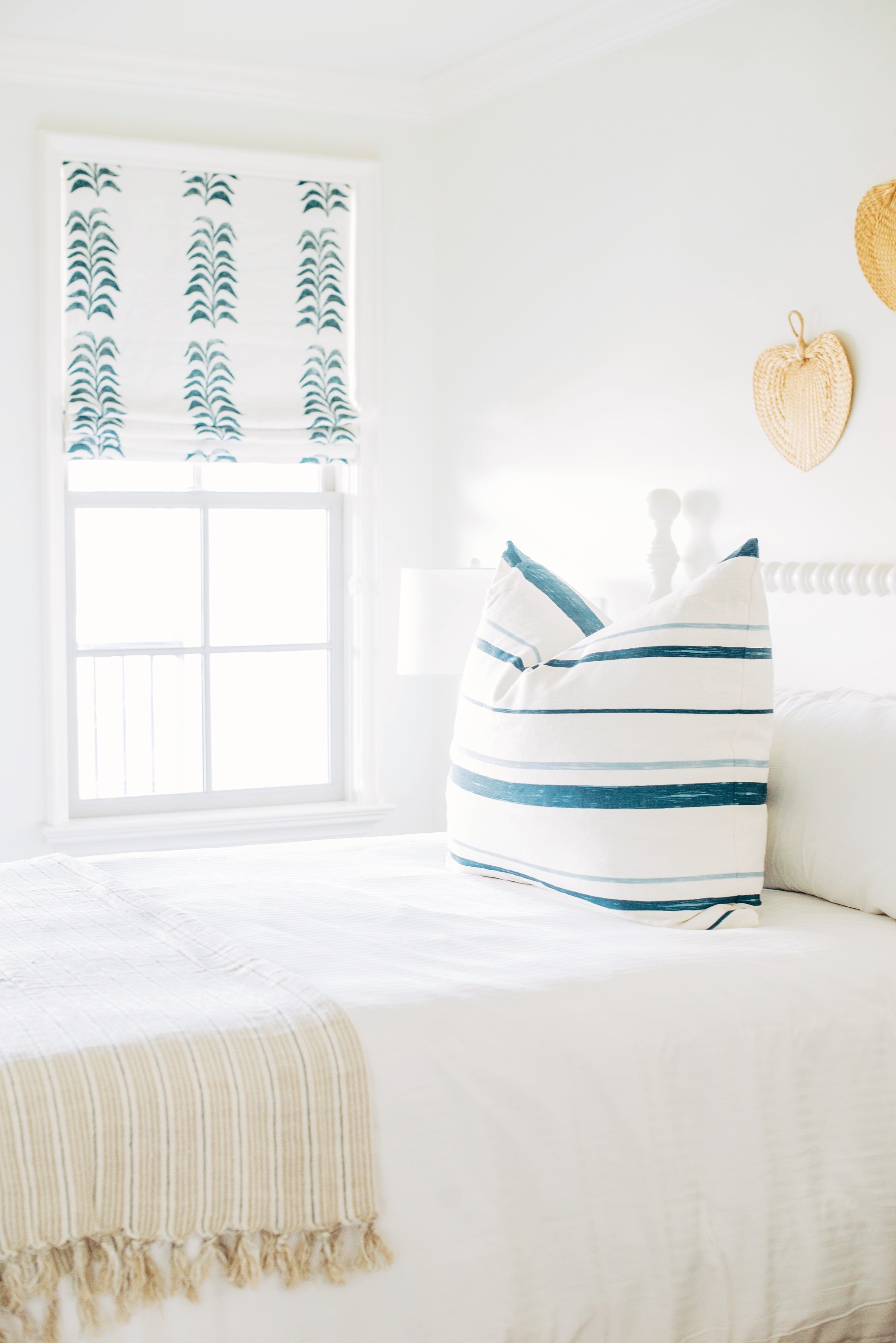 We did one single, oversized pillow for this queen bed