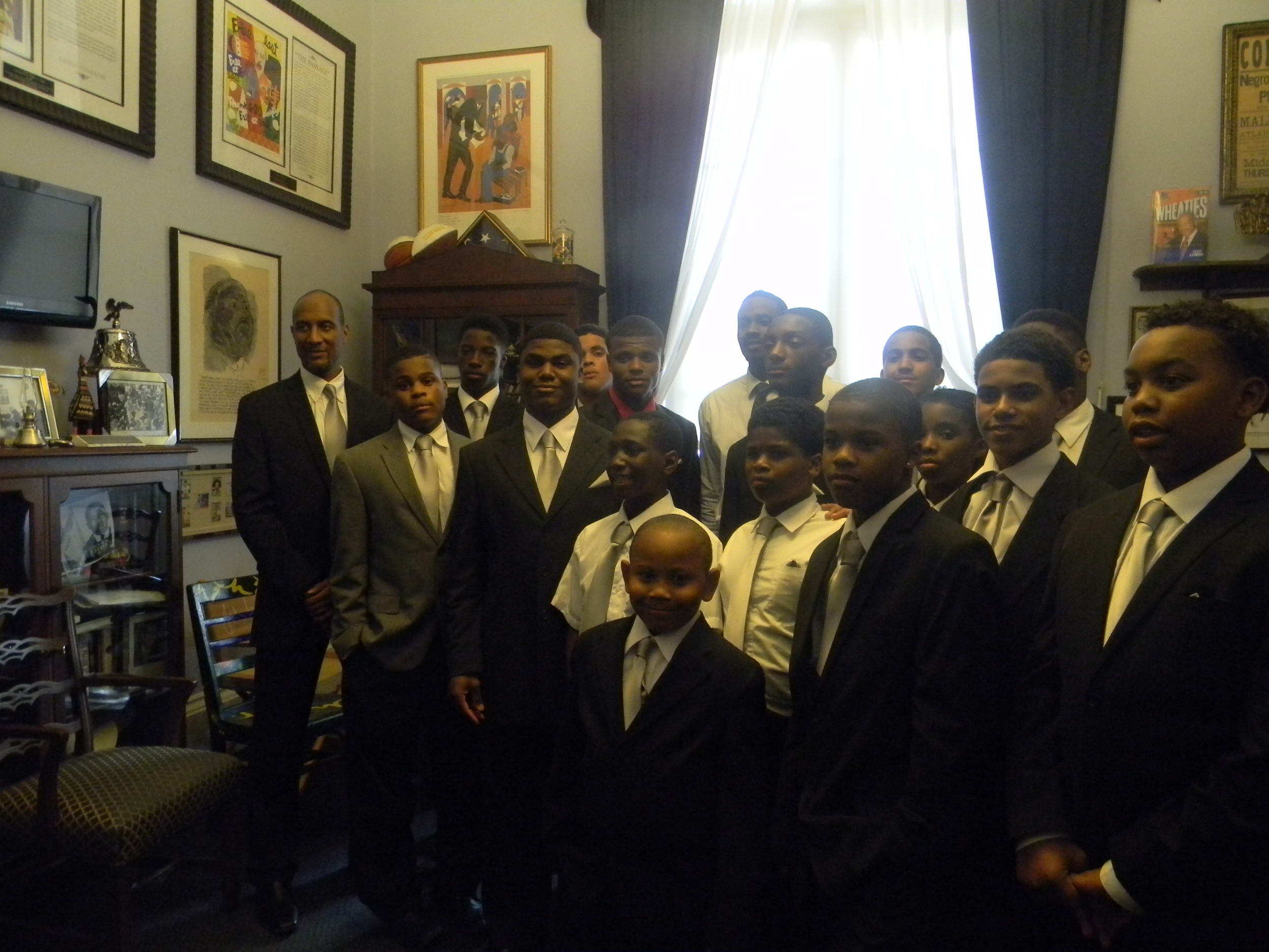 The What About YOUth Male Initiative participants visiting Congressman John Lewis' office.