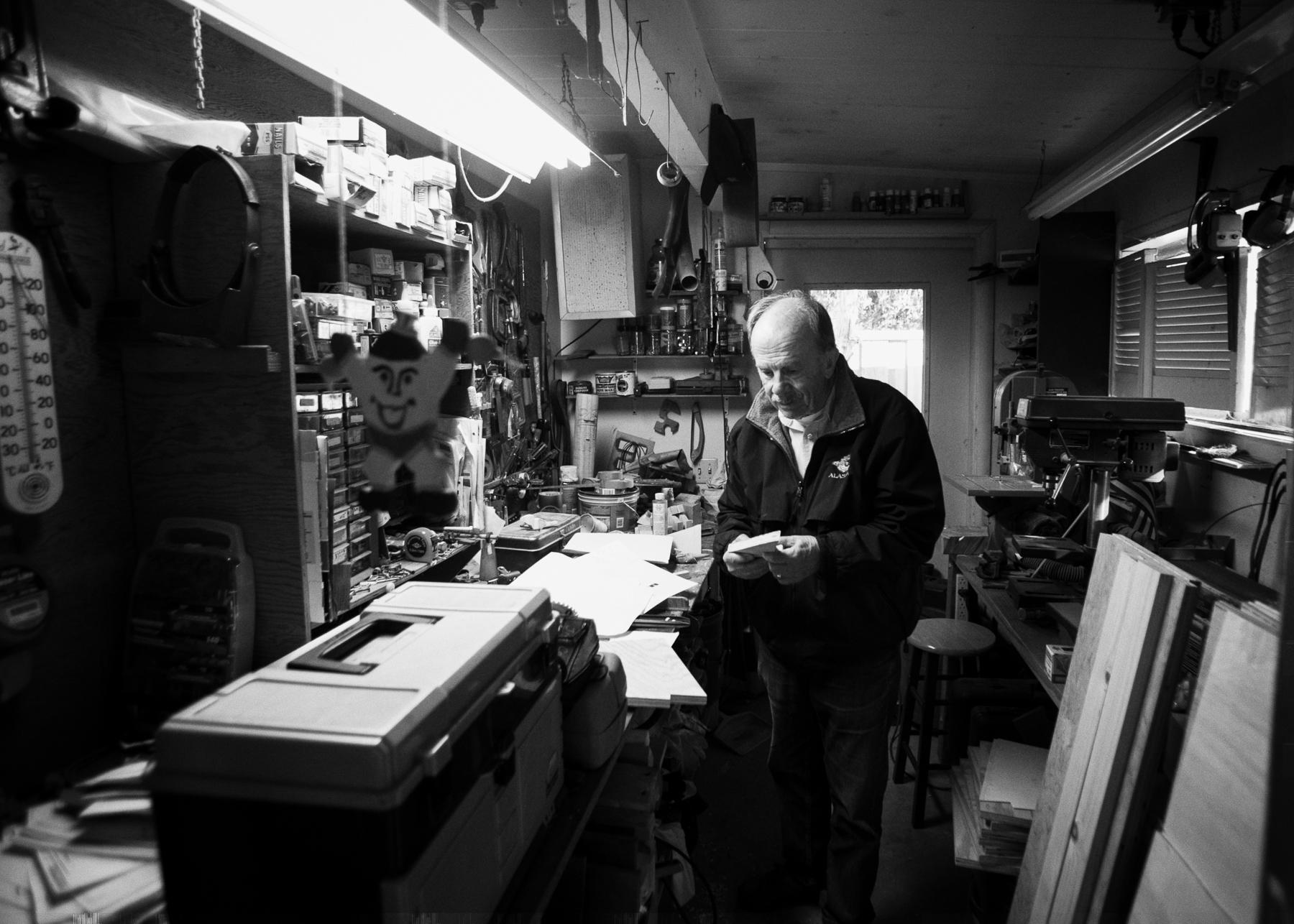 Pops in his shop