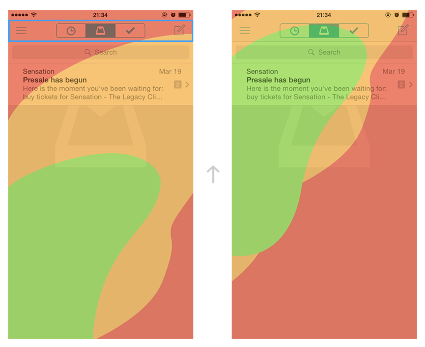 2.3. Mailbox . All navigation controls are hardly reachable on iPhone6. Thumb Zone map . Right hand.