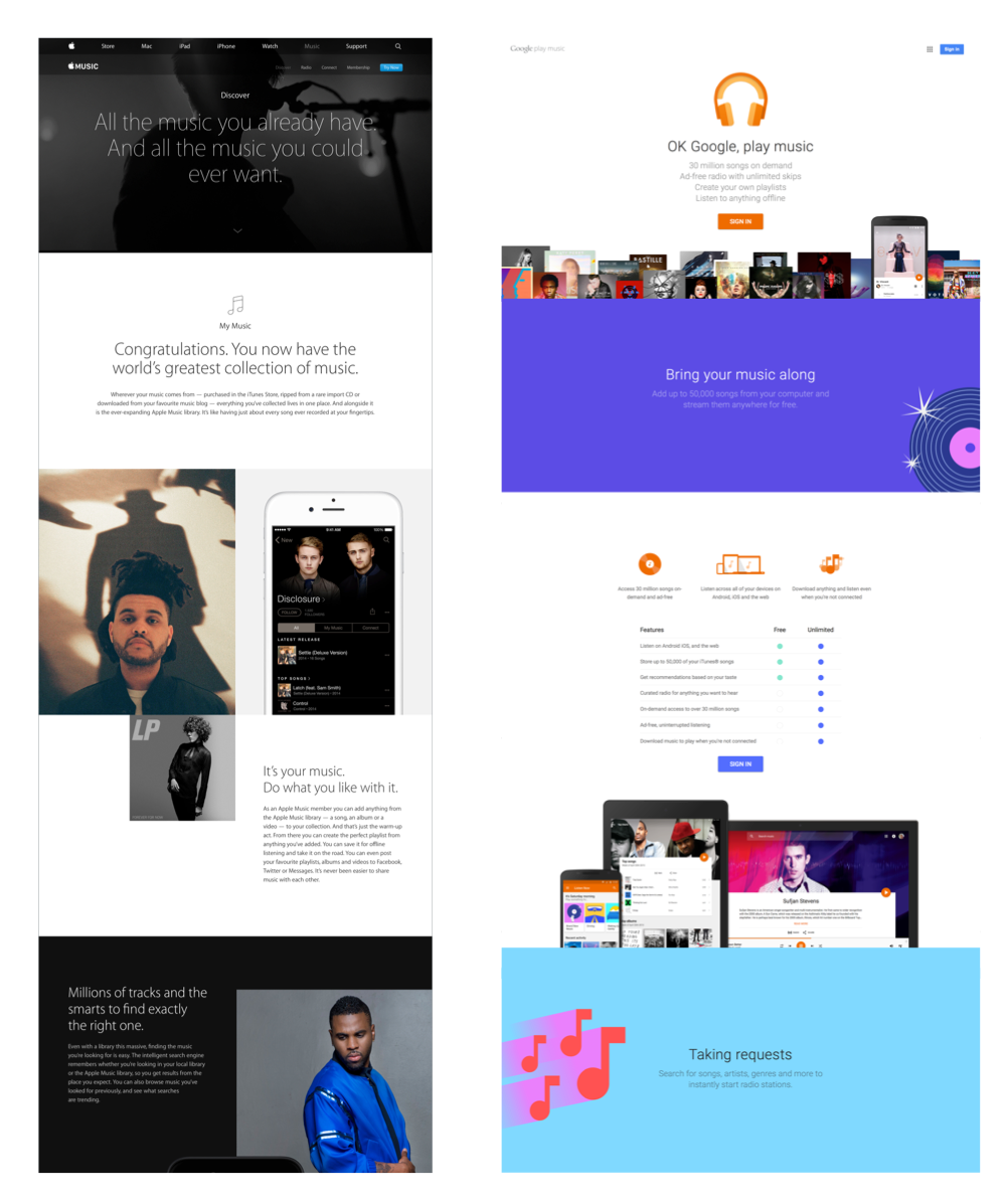 """A quick comparison between Apple Music and Google Music shows that Material Design uses bright colors and illustrations a lot more. For Apple Music, the only place a bright color is used is for the """"Try Now"""" button."""