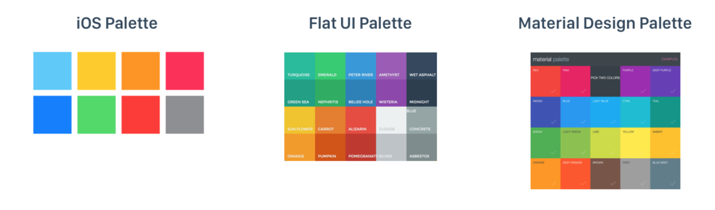 iOS Colors (left), Flat UI (middle), Material Design Palette (right)