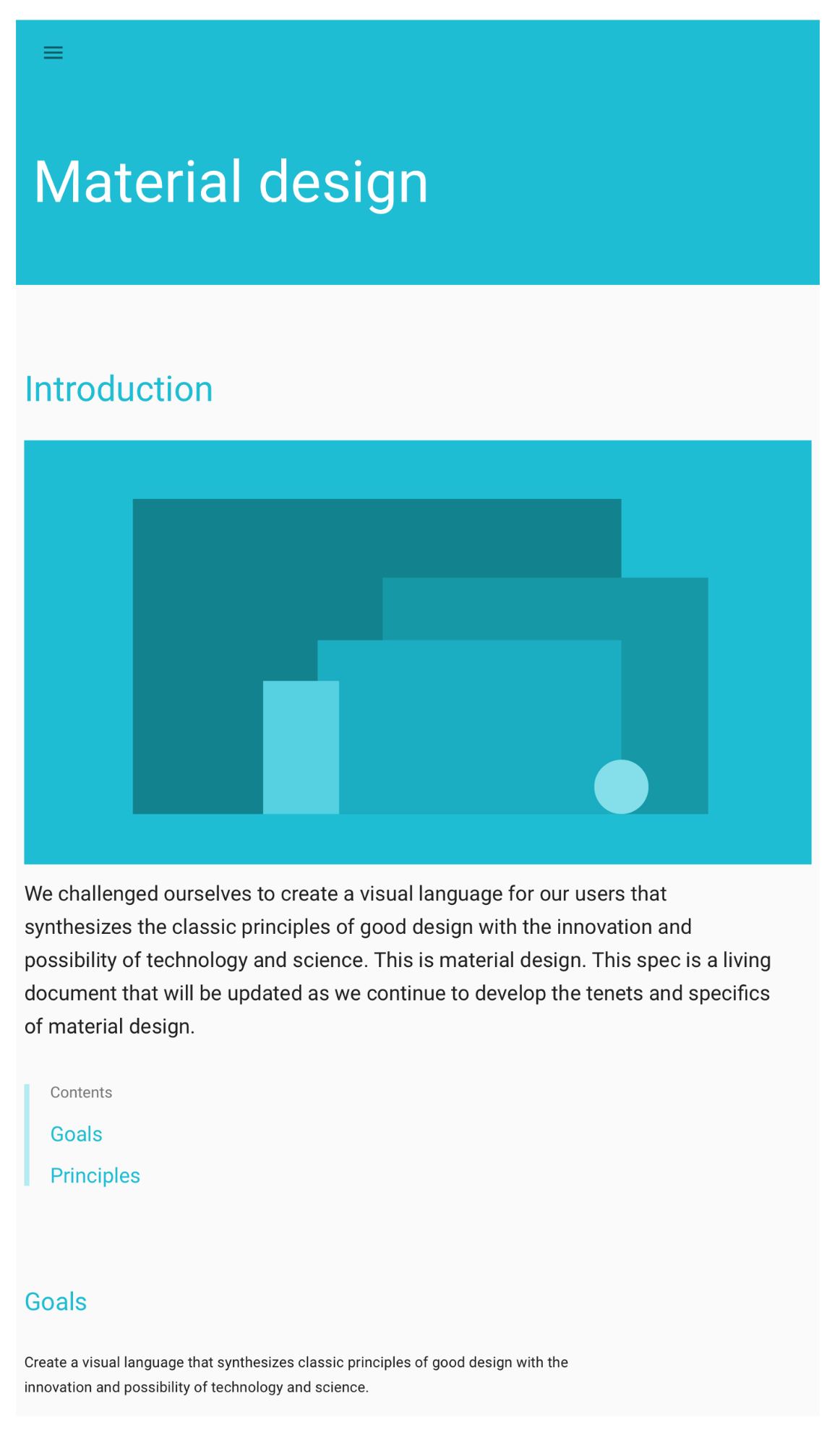 """Is the header actionable since it's colored? Should I be using an image instead to express what my product is about? Why is the """"Goals"""" title the same color as the links?"""
