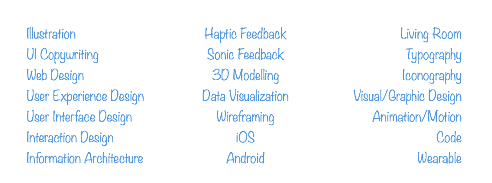 A sampling of some of the types of design, platforms, skills, etc. that we came up with in our exercise.