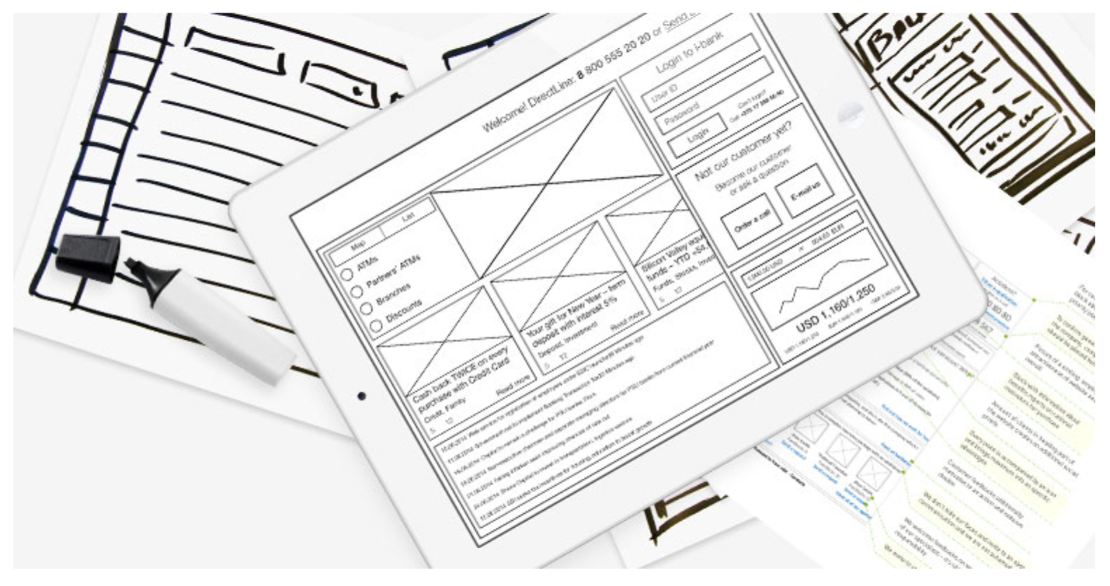 Wireframes are schematic screen blueprints that show skeleton of next interface