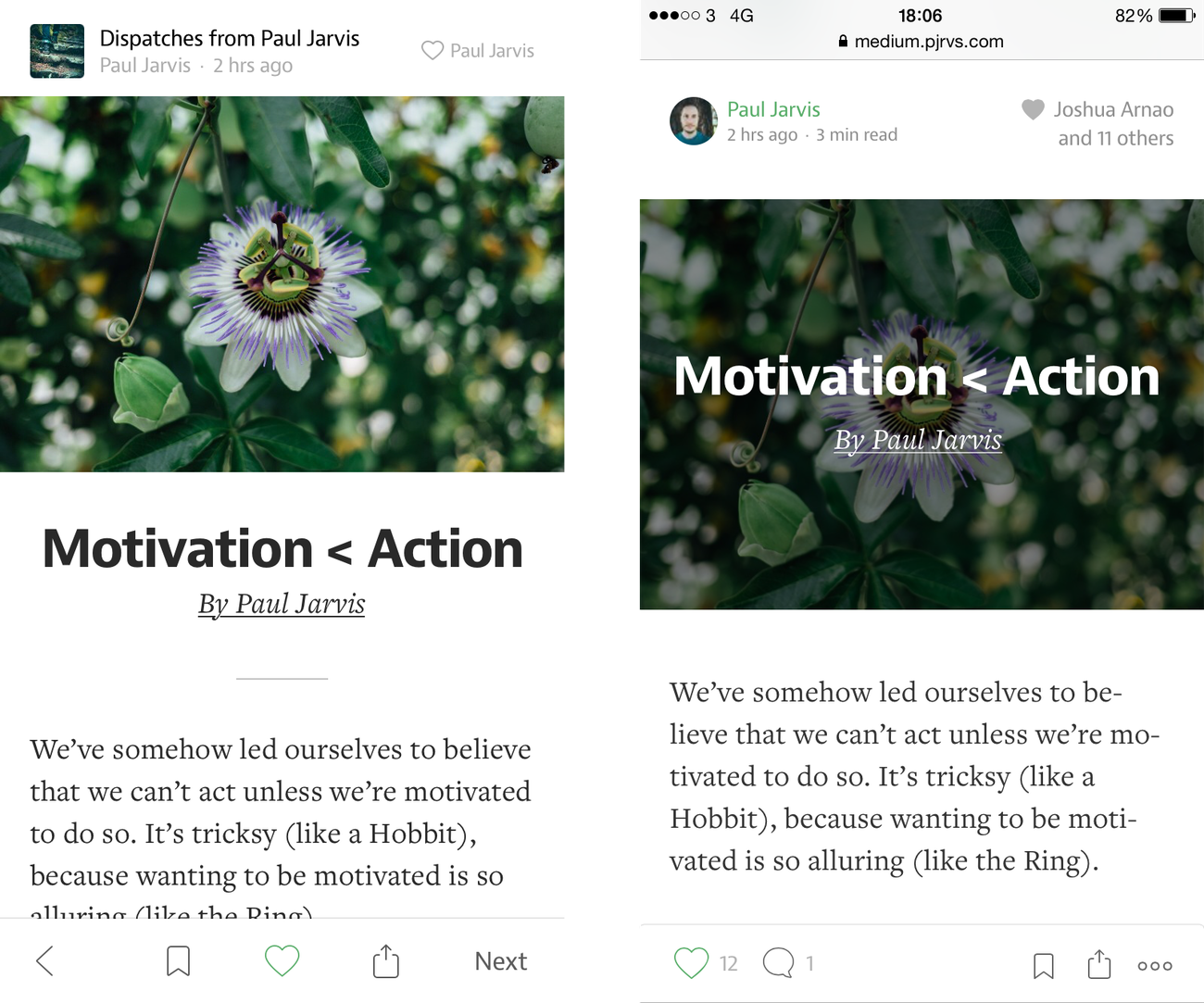 Medium article on mobile app on the left and mobile web on the right