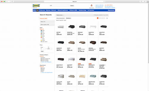 Many e-commerce sites don't make use of available space on larger screens. The result: often a lot of white space surrounding a rather crammed search results page.
