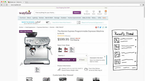 Product suggestions or a list of recently viewed items may be placed in a sidebar for easy cross-product navigation