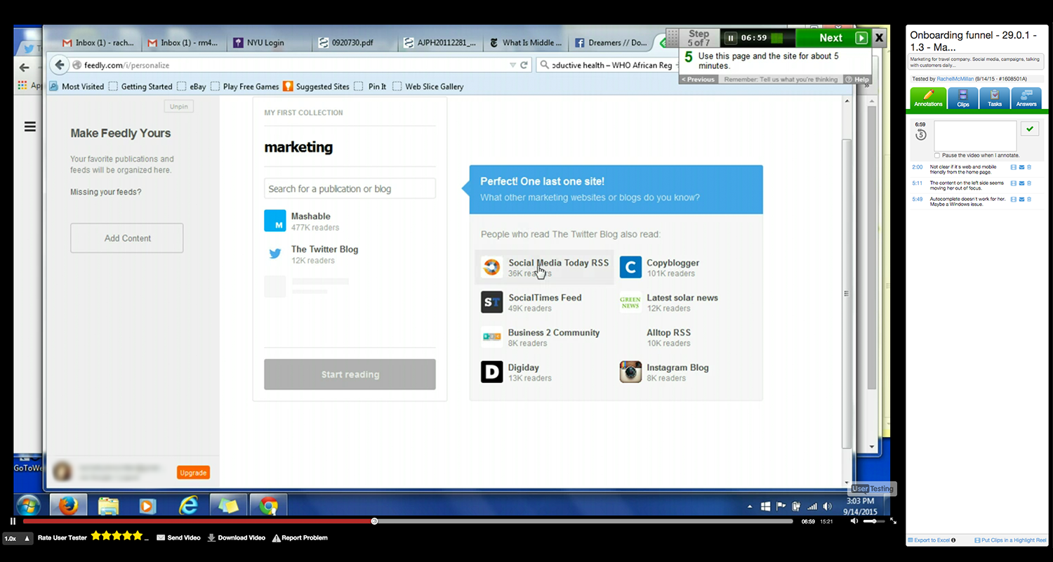 Feedly's onboarding being test on UserTesting