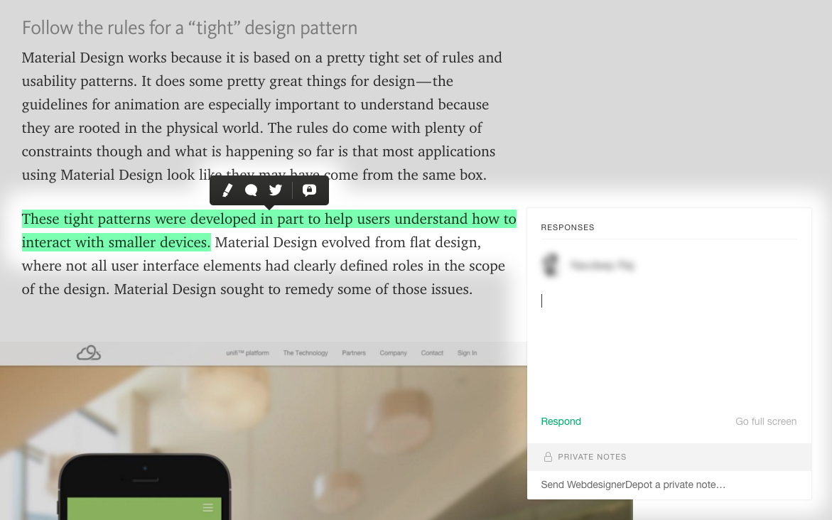 Medium.com: In-line highlighting and commenting feature.
