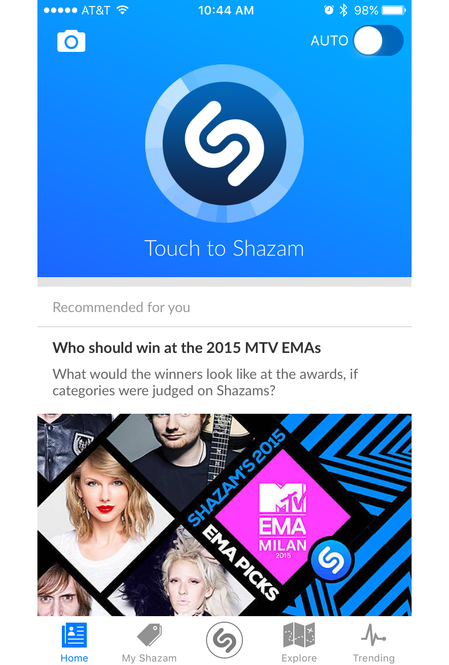 """Evernote (left) nudges the user to try its premium features.Shazam (right) allocates almost half of the screen to highlight the key user action """"Touch to Shazam""""."""