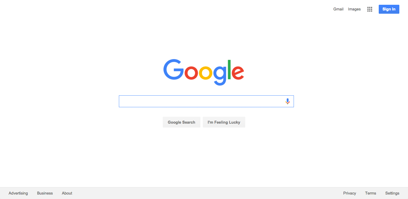 Google:  The homepage is just a search box that has clearly been designed around its primary function.