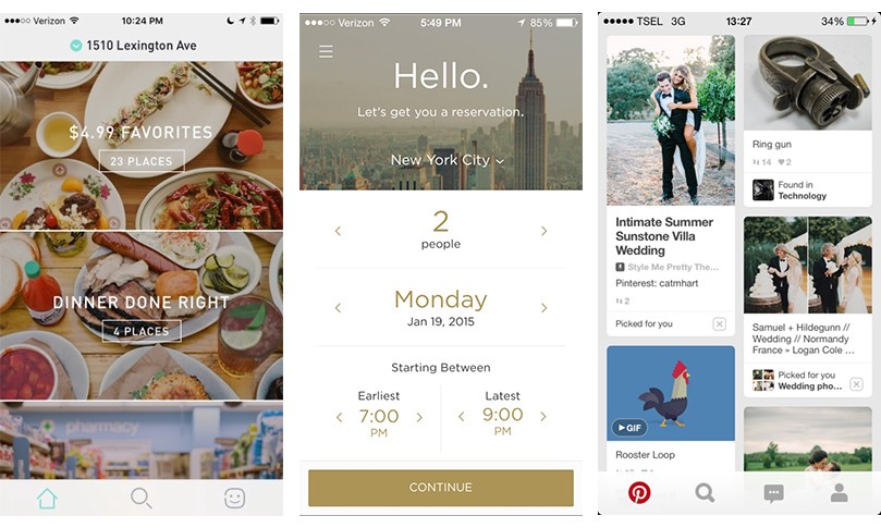 Postmate, Reserve, and Pinterest