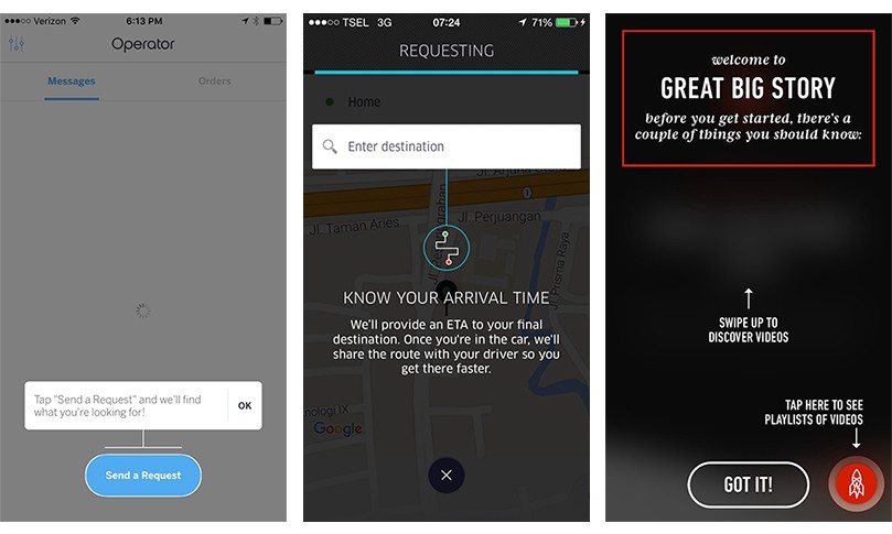 Coachmark screen—Operator, Uber and Great Big Story