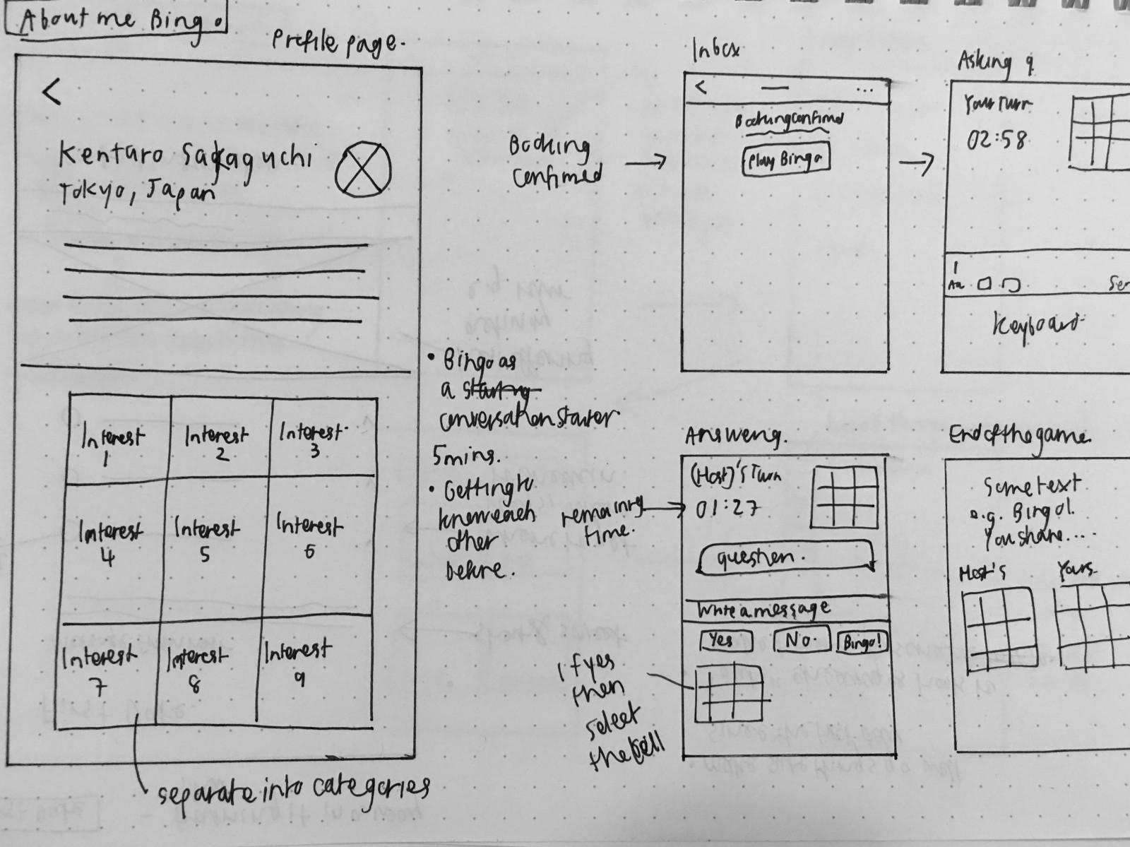 Bingo Concept Low-Fidelity Sketch