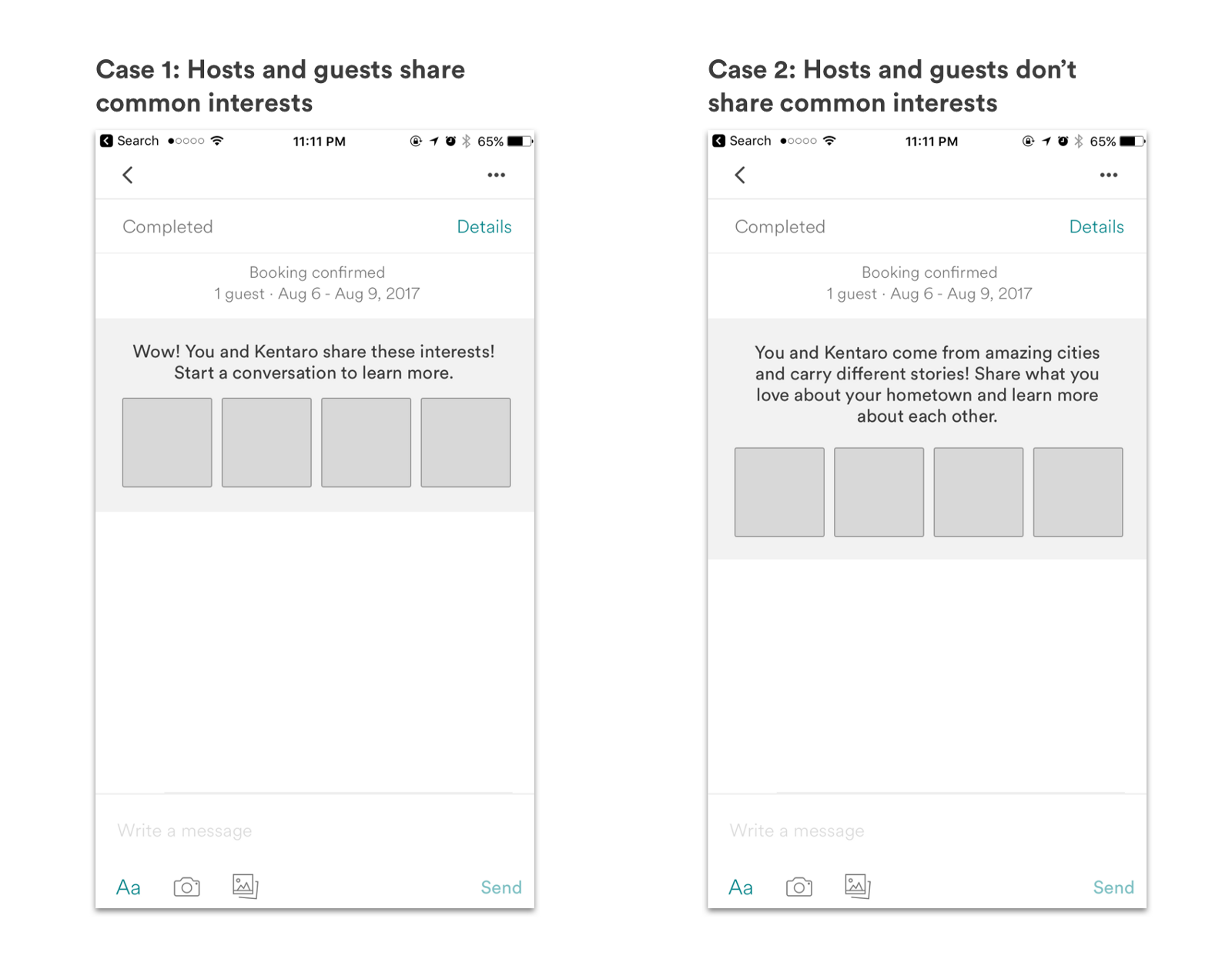 Medium Fidelity Wireframes of Situations Where Their Interests Matched and Don't