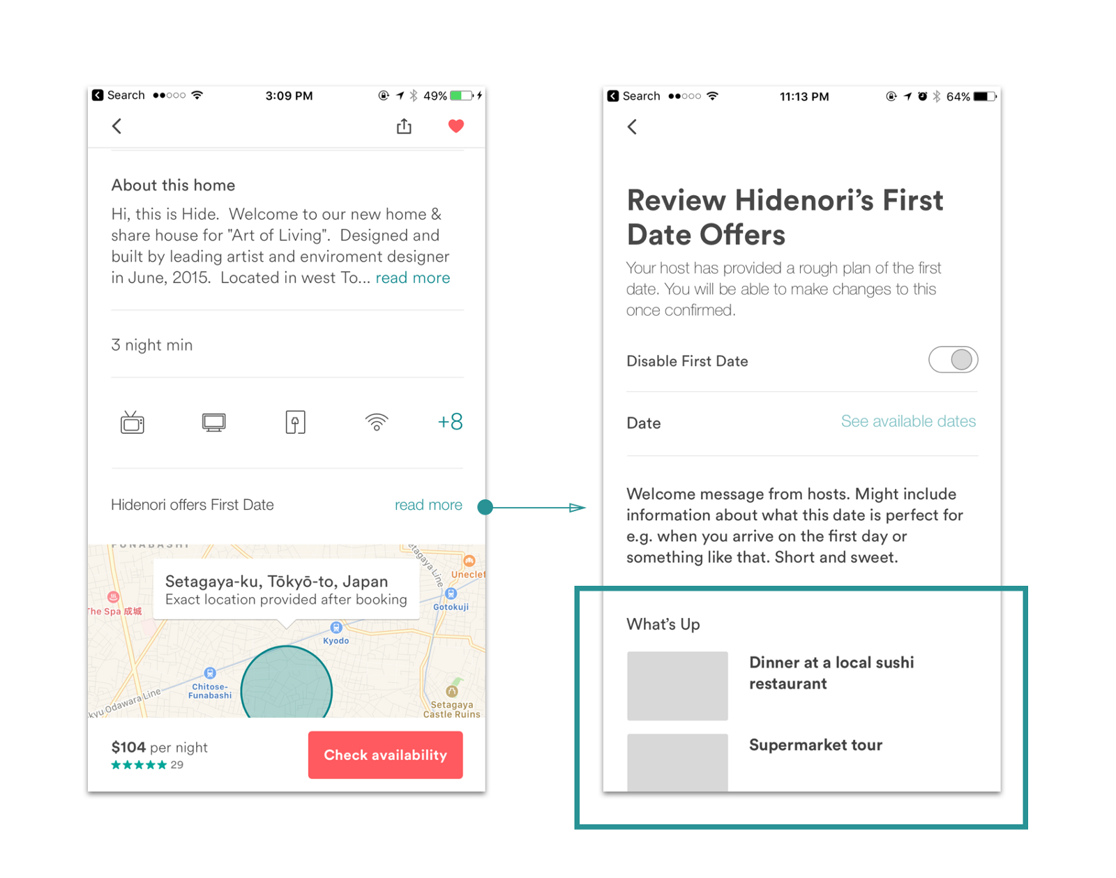 Medium Fidelity Wireframes of Developed First Date Concept