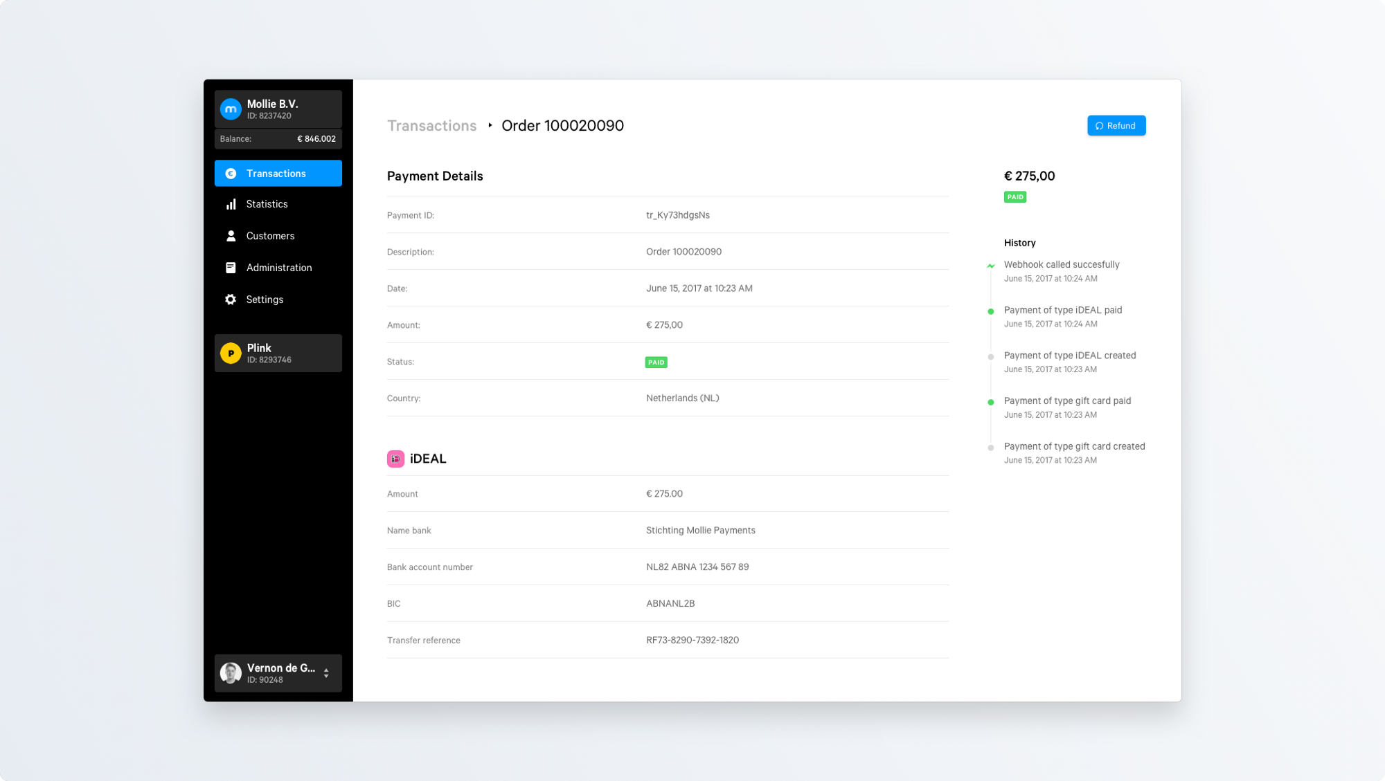 Sidebar, content, and optional inspector in the new and much calmer Payment Detail screen.