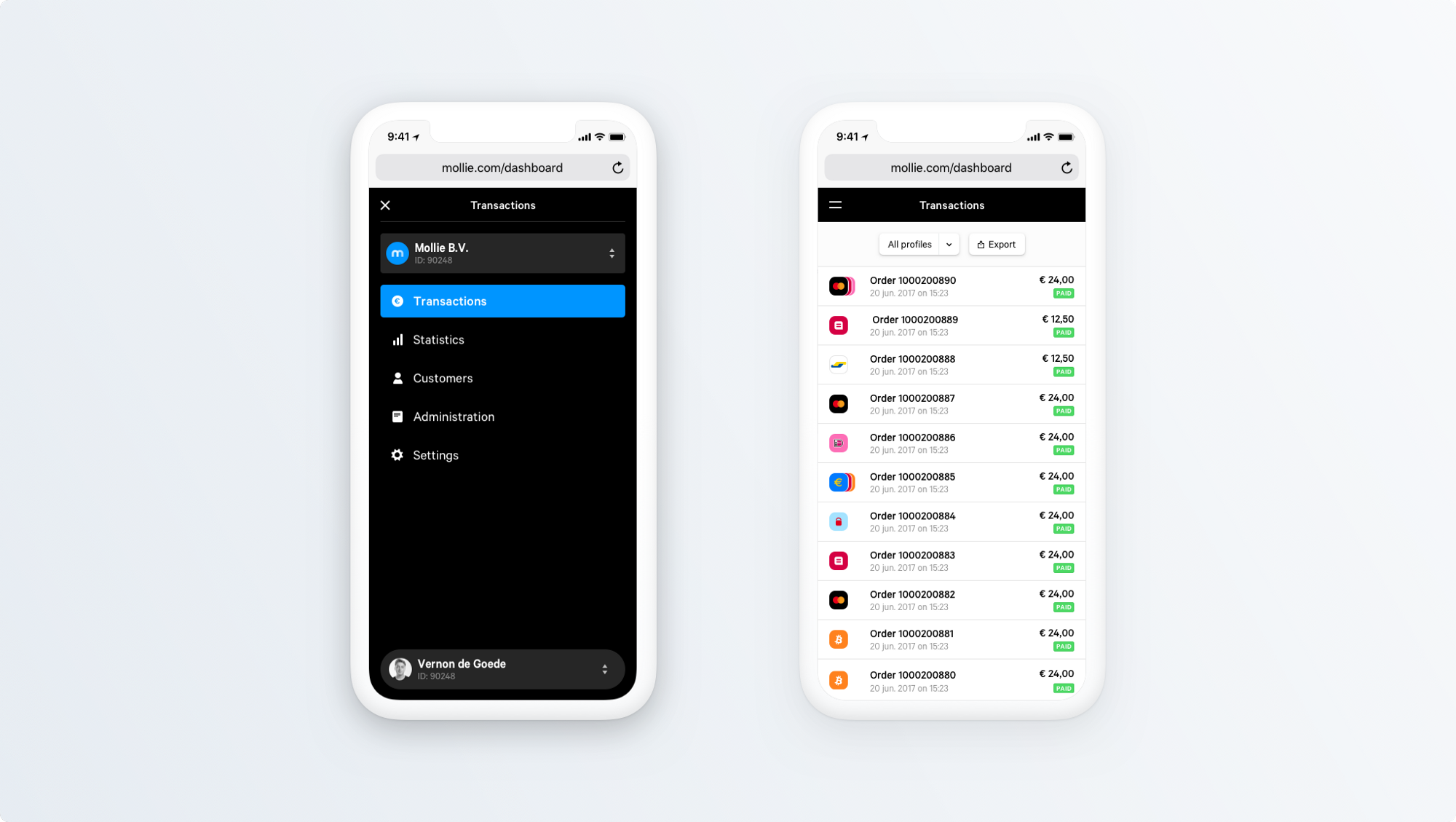 Dashboard for mobile.