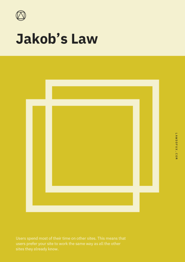 Jakob's Law: - Users spend most of their time on other sites. This means that users prefer your site to work the same way as all the other sites they already know. [Image: Jon Yablonski]