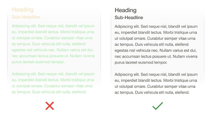 Text on the left doesn't meet the color contrast ratio recommendations — it's difficult to read against its background. Image credited to Apple.