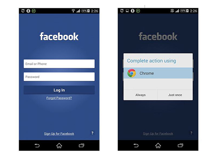"""Negative example. When a user taps on the """"Forgot Password?"""" button in the Facebook app for Android, the app tries to invoke the smartphone's browser."""