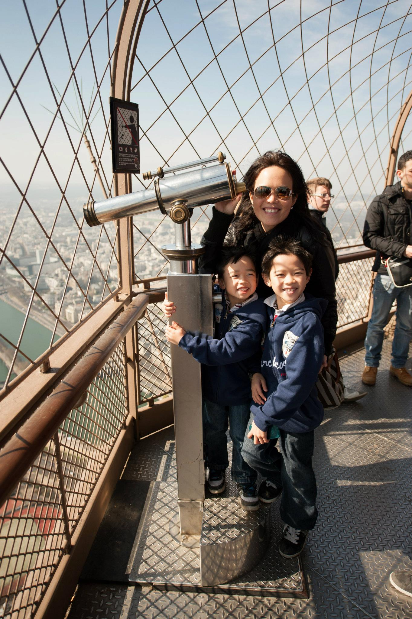 On the Eiffel Tower...a windy day!