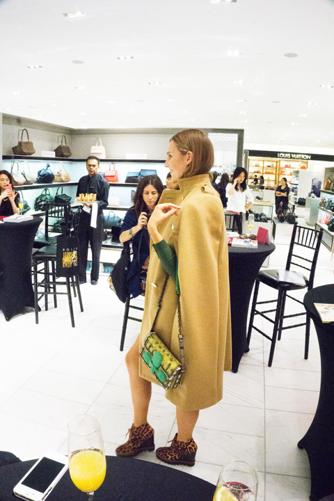 Everyone knows about the camel coat - what about a cape? It's classy and fun. I'm game. Cape by Sacai, Shoes by Stella McCartney, Bag by Bottega Venetta.