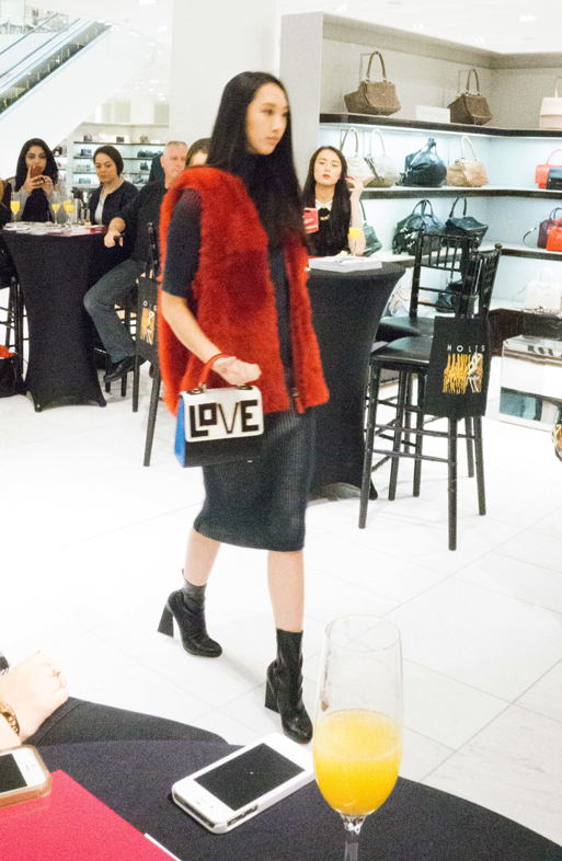 This Fendi fur vest can be worn with a pair of distressed J-brand jeans or even liquid leggings. Investment pieces need to be worn - on any occasion! Dress by Marco Di Vincenzo, shoes by Stella McCartney, Bag by Les Petit Jouers.